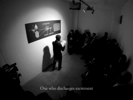 Nothing Is Left to Tell - The Distribution of the Sacred System, 2010. Video documentation of Aktion (black & white, sound) DVD, unlimited edition.