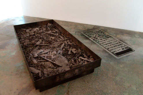 Barbad Golshiri – Curriculum Mortis - As Dad as Possible, as Dad as Beckett, 2000-2013. Iron, ashes, 79 x 39.5 x 11 in. (pictured with imprint of The Untitled Tomb).