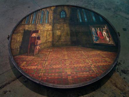 Barbad Golshiri – Curriculum Mortis - Eyeck, 2008-2013. Oil on canvas, wood, iron, brass, 57 x 57 x 7 in. (with Shahryar Hatami).
