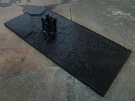Barbad Golshiri – Curriculum Mortis - Pentimento, 2011. Iron, industrial wax, granite, paint, 43.5 x 20 x 8 in.
