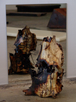 Barbad Golshiri – Curriculum Mortis - Perpetual is He, 2012. Engraving on cow skull, iron, industrial wax, 14 x 9 x 7 in.