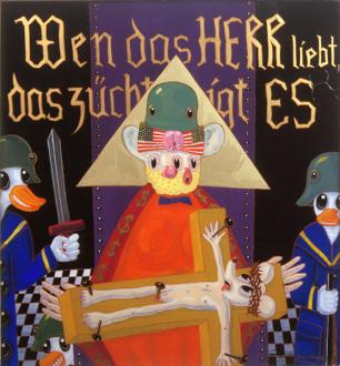 15 Years Thomas Erben - Blalla Hallmann, Wen das HERR liebt das züchtigt es (Whom the Lord Loves he Chastizes), 1990. Reverse painting, acrylic on glass, 47.25 x 43.25 in.