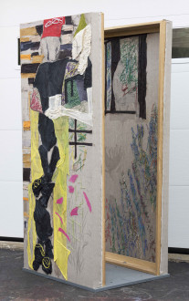 models stand close to the paintings - By the Yard, 2016. Collage, dyed cheesecloth, muslin, and acrylic mediums on linen panel mounted on plywood base, panel: 81.5 x 36 in, base: 38 x 32 in.