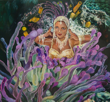 Chitra Ganesh – Upon Her Precipice - Chitra Ganesh, Her Accident, 2007. Acrylic on board, 31 x 28.75 in.
