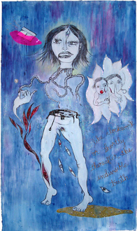 Chitra Ganesh – Upon Her Precipice - <i>Indivisible Truth</i>, 2007. Mixed media on paper, 96 x 57 in.