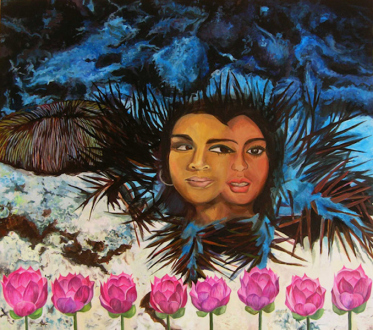 Chitra Ganesh – Upon Her Precipice - Chitra Ganesh, Teri Mehfil, 2007. Acrylic on board, 31 x 28.75.