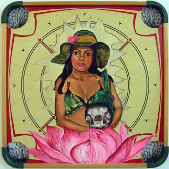 Chitra Ganesh – Upon Her Precipice - Chitra Ganesh, Zeenat, 2007. Acrylic on carom board, 28 x 28 in.