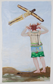 Painting Forward – Joan Brown, Charles Garabedian, Jackie Gendel, Haley Josephs, , Kyle Starver - Charles Garabedian, Stigmata, 2014, acrylic on paper, 72 x 45 3/4 in.