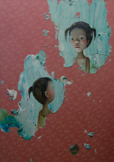 Chen Ke – Li Jikai – Wei Jia - Chen Ke, Another me in the world, 2007. Modeling paste and oil color on silk, 67 x 47.25.