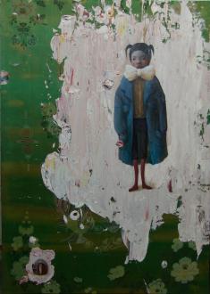 Chen Ke – Li Jikai – Wei Jia - Chen Ke, Apparel, 2007. Modeling paste and oil color on silk, 67 x 47.25 in.