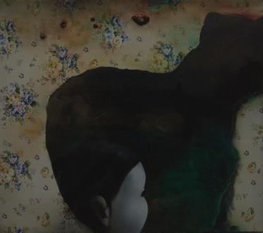Chen Ke – Li Jikai – Wei Jia - Chen Ke, Bridge, 2007. Modeling paste and oil color on silk 31.5 x 27.5 in.