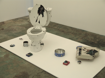 Chen Ke – Li Jikai – Wei Jia - Chen Ke, Everything about little K, 2007. Installation (including one commode, one toy piano and six boxes), modeling paste and oil color on object.