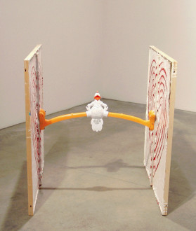 Mike Cloud - <i>Chicken on Star of David Maze</i>, 2006, Oil on linen with toy, 40 x 40 x 40 inches