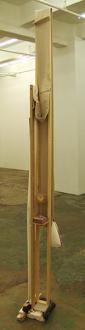 QuietlyLoud – Natasha Conway, Alisha Kerlin, Cassie Raihl - Cassie Raihl, Draper, 2010. Wood, canvas, wine glass, bronze, vinyl. 13 x 17 x 97 in.