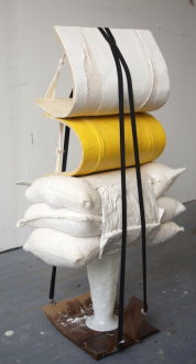 QuietlyLoud – Natasha Conway, Alisha Kerlin, Cassie Raihl - Cassie Raihl, PillPenders, 2010. Suspenders, Wood, plaster, glass vase, cardboard. 16 x 49 x 13 in.