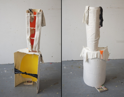 QuietlyLoud – Natasha Conway, Alisha Kerlin, Cassie Raihl - Cassie Raihl, TigerStack, 2010. Wood, tar, plaster, fabric, newspaper. 16 x 49 x 13 in.