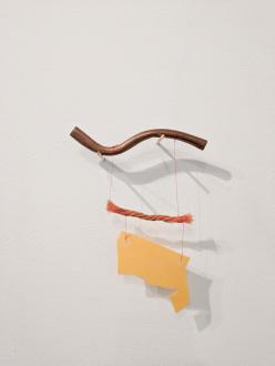 ecofeminism(s) curated by Monika Fabijanska - Cecilia Vicuña (Chilean, b. 1948) Tres elementos (Precarios), 2014 mixed media, 6.875 x 5.75 x 0.25 in (17.5 x 14.6 x 0.6 cm) Courtesy the artist and Lehmann Maupin, New York, Hong Kong, and Seoul