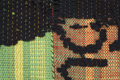 Los Angeles Bound – Diedrick Brackens, Thomas Lawson, Tiffany Livingston, Mark Roeder - Diedrick Brackens, get in where you fit in, 2016. Woven cotton and polyester yarn, 71 x 67 inches