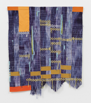 Los Angeles Bound – Diedrick Brackens, Thomas Lawson, Tiffany Livingston, Mark Roeder - Diedrick Brackens, sleep don't come easy, 2016. Woven cotton and polyester yarn, 61 x 52 inches