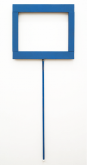 Painting in due time – Scott Anderson, Lydia Dona, Denzil Hurley, Harriet Korman, Hanneline Røgeberg, Marcus Weber - Denzil Hurley, <i>Blue Glyph #1</i>, 2011–2012. Oil on linen with blue pole attachment, 20 x 32 in.