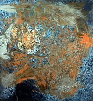 Andrej Monastyrskij, Dona Nelson, Vargas-Suarez Universal, Tom Wood - Dona Nelson Silvery Arrangement, 1992. Acrylic, muslin and strips of canvas on canvas, 84 x 78 in.