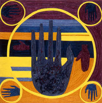 Dona Nelson – in situ: paintings 1973 – present - The Palmist Reveals the Future of Painting, 1992. Dyed canvas strips and acrylic mediums on canvas, 75 x 75 in.