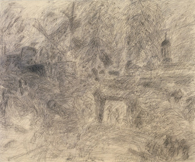 Brain Stain - <i>Walnut Way</i>, 1999. Charcoal on canvas, 88 x 106 in.