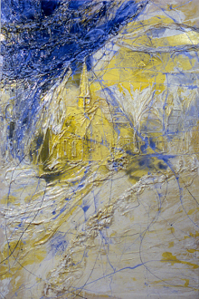 Dona Nelson – in situ: paintings 1973 – present - My Home III, 2000. Cheesecloth and acrylic mediums on canvas, 90 x 60 in.
