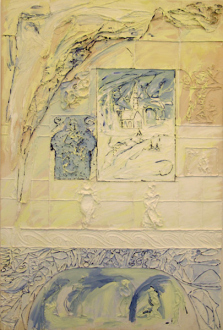 Dona Nelson – in situ: paintings 1973 – present - My Home IV, 2001. Cheesecloth and acrylic mediums on canvas, 90 x 60 in.