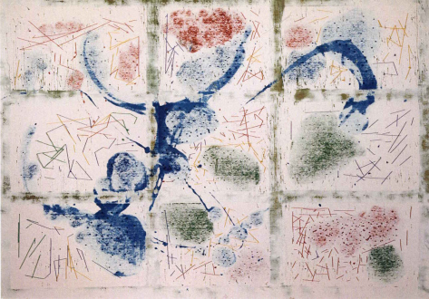 Animate Matter – Pia Maria Martin, Dona Nelson, Richard Staub, Rose Wylie - Dona Nelson: Antiology, 2008. Acrylic and painted card on canvas, 75 x 106 in.