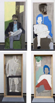 models stand close to the paintings - <i>Passengers</i>, 2016. Collage, dyed cheesecloth, muslin, and acrylic mediums on linen panel mounted on plywood base, panel: 81.5 x 36 in, base: 38 x 32 in.