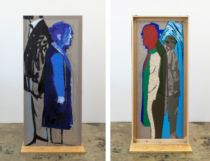 models stand close to the paintings - <i>Mountain Passengers</i>, 2017. Collage, dyed cheesecloth, muslin, and acrylic mediums on linen mounted on plywood base, panel: 81.5 x 36 in, base: 38 x 23 in.