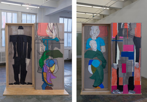 models stand close to the paintings - Platform, 2017. Collage, dyed cheesecloth, muslin, and acrylic mediums on linen mounted on plywood base, panel: 81.5 x 36 in, base: 74 x 22 in.