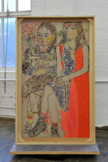 Box Paintings - <i>Riley and Olive</i>, 2020. Painted string on linen panel mounted on plywood base, 71 x 43 x 4 in. (double-sided)