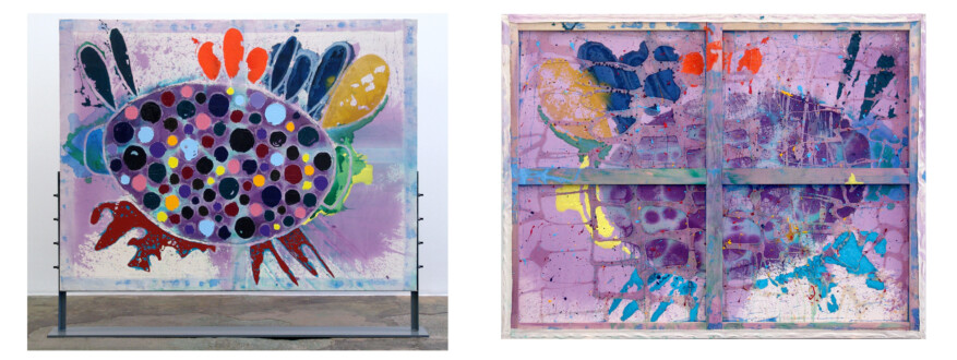 Dona Nelson – Double sided paintings - <i>Birdy</i>, 2015. Acrylic and acrylic medium on canvas, 61 × 79 1/2 in.
