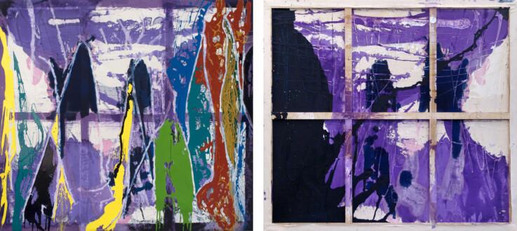 Dona Nelson – Double sided paintings - <i>Black Points</i>, 2015. Acrylic and acrylic medium on canvas, 90 × 108 in.