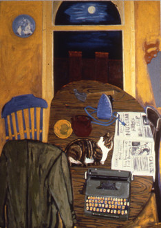Dona Nelson - <i>Daily News</i>, 1983. Oil on canvas, 84 x 60 in.