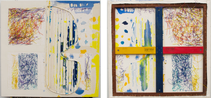 Dona Nelson – Double sided paintings - <i>Line Light</i>, 2015. Acrylic on canvas, 50 × 51 in.