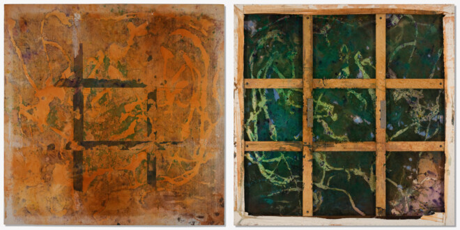 Dona Nelson – Double sided paintings - <i>New Jersey Sunset</i>, 2003. Acrylic on canvas, 79 × 78 in.