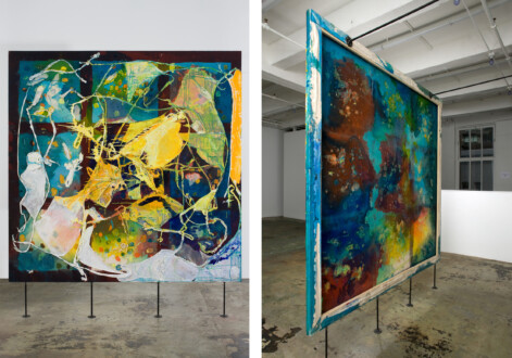 """Thomas Erben Gallery – 25 years - Dona Nelson, <i>Night Studio</i>, 2008. Acrylic mediums and dyed cheesecloth on canvas, 83.5 x 84 in. <br></<br><br></<br> Dona Nelson's major, double-sided <i>Night Studio</i> (83.5 x 84in.) is work no. 6 in our <i>25 years</i> survey. This now classic painting first appeared at the gallery in a 2009 group show and was included in <i>Stand Alone Painting</i>, Nelson's survey exhibition at the Tang Museum in 2018. <br></<br><br></<br> In the press release for the 2009 show, we wrote: <br></<br>""""Having broken the hold of the hegemony of the image, these artists exemplify a shift in cultural consciousness itself towards the cohabitation of meta-narratives on an un-weighted plane. Often piece-meal in appearance, the disinterest in unification is merely a byproduct of these artists' analytical appreciation for the cultural. At all times thoughtful and dynamic, the works on view dissolve the schizophrenic, illogical taint of multiple intentionality."""" Sounds a bit convoluted and perhaps, <i>Night Studio</i> is just a great painting.... but then what makes a painting GREAT? Is it the artist's skill in execution? Their intellectual inquiry? The wider framework within which the work operates? Its emotional impact? Its content and formal relation to the medium's history? Or perhaps it's all of these things brought together, producing a rich, multi-dimensional aesthetic and intellectual experience."""