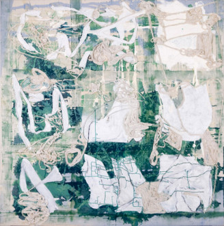 Volta New York - <i>OK (a perfect spring day)</i>, 2009. Acrylic media and cloth on canvas (two sided), 79 × 79 inches.