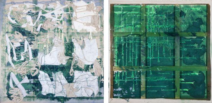 Dona Nelson – Double sided paintings - <i>OK (a perfect spring day)</i>, 2009. Acrylic media and cloth on canvas, 79 × 79 in.
