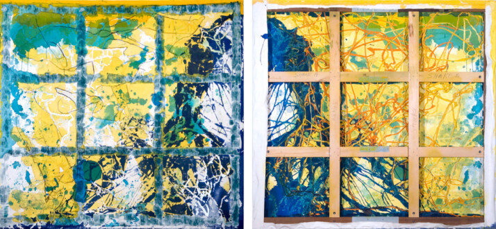 Dona Nelson – Double sided paintings - <i>Okie Dokie<i>, 2008. Dyed cloth, charcoal and acrylic on canvas, 78 × 83 in.