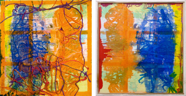 Dona Nelson – Double sided paintings - <i>Orangey</i>, 2011. Acrylic mediums and dyed cheesecloth on canvas, 83 × 78 in.