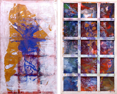 Dona Nelson – Double sided paintings - <i>Phigor</i>, 2014. Acrylic and acrylic medium on canvas, 117 × 70 in.