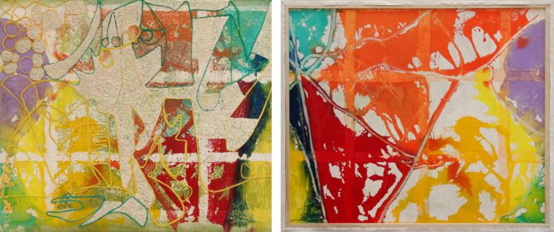 Dona Nelson – Double sided paintings - <i>Rain</i>, 2013. Acrylic and acrylic medium on canvas, 76 × 80 in.