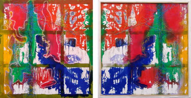 Dona Nelson – Double sided paintings - <i>Red and Green Noses</i>, 2013. Acrylic and acrylic medium on canvas 83 × 78 in.