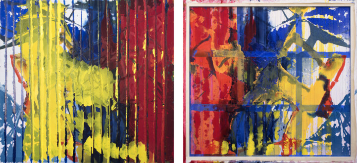 Dona Nelson – Double sided paintings - <i>Ribbed Red</i>, 2015. Acrylic and acrylic medium on canvas, 78 × 83 inches
