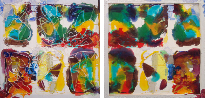 Dona Nelson – Double sided paintings - <i>Spacey Characters</i>, 2010. Acrylic media and cloth on canvas 81 × 79 in.