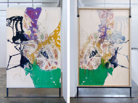 Dona Nelson – Double sided paintings - <i>String Turn</i>, 2015. Acrylic and acrylic medium on canvas, 90 × 60 in.